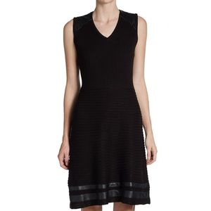 Calvin Klein Black Faux Leather-Trimmed Knit Dress
